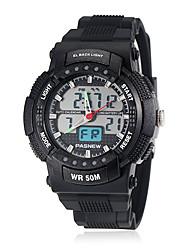 Men's Sport Style Dual Time Zones Rubber Band Quartz Wrist Watch (Assorted Colors)