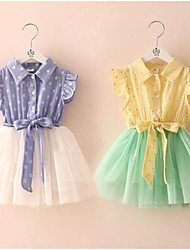Girl's Dress,Cotton Blend / Organza Summer Blue / Yellow