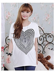 Heart Pattern Briefs O neck T-shirts for Pregnant Women Loose Batwing Letter Maternity Top