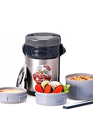 """Three Layers Stainless Steel Insulation Lunch Box Suit,Inner Plastic outer Steel ,L6.5""""*W6""""*H10.5"""""""