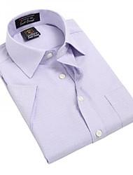 Turn-down Collar U-requin hommes d'affaires manches courtes Modal Fibre shirts de carreaux violet rayé Blouse Top EOZY MD-018