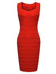 MS Women's Pack Hip Bandage Dress(Red)