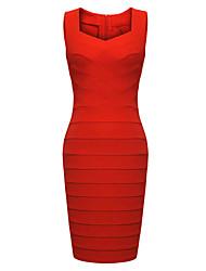 MS Женская обновления Хип бинты платье (красный)