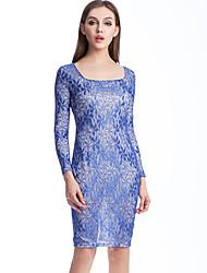 Shengyuan Women's European Slim Long Sleeve Lace Bodycon Dress(Blue)