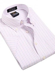 U-Shark  Men's Summer Formal Business Short Sleeves Wash-and-Wear Oxford Fabric Purple Red Striped Shirts  Blouse Top EOZY