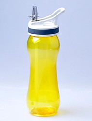 Travel Outdoor Sports Camping Water Bottle Cup-Transparent  Yellow (600ml)