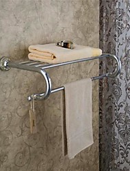 Contemporary Style Chrome Finish Wall Mounted Brass Bathroom Shelves