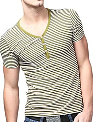 Summer Casual V-Cou T-shirts U-requin homme vert rayé blanc Accompagnement shirt EOZY