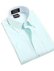 Turn-down Collar U-hommes de requin de Botton été formelles affaires manches courtes Modal Chemises Oxford Glace verte Blouse Top EOZY DMNJ-005