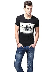 Summer Casual col rond de mode de coton T-shirts noir de U-requin hommes Sauvegarde shirt EOZY