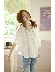 Women's Solid White Blouse , Square Neck ½ Length Sleeve