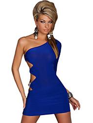 Darling Clothes Women's One Shoulder Fit Short Blue Dress
