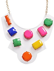 JANE STONE Colorful Plastic Flower Rhinestone Fashion Statement Necklace