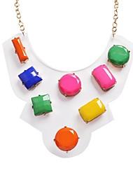 JANE КАМЕНЬ красочные пластиковые Цветочная Rhinestone моды себе ожерелье