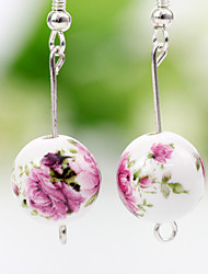 Blue and white Handwork Ethnic Style Jingdezhen Ceramic Rose Pattern Earrings(Screen Color)