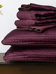 Huani® Quilt Set,3 Pieces Plaid Aubergine Polyester