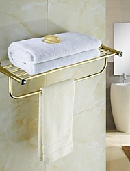 Contemporary Golden Crystal Brass Towel Rack