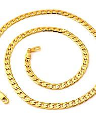 u7® 18k colares de ouro cheio pedaços de ouro amarelo chapeado jóias de qualidade cadeias figaro para homens 5 milímetros 55 centímetros