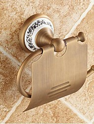 "Toilet Paper Holder Antique Brass Wall Mounted 140 x 134 x 66mm (5.51 x5.27 x 2.59"") Brass / Ceramic Antique"