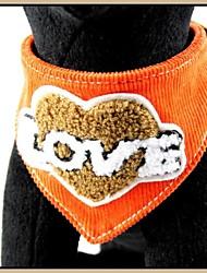 """Orange tissu de velours côtelé avec """"AMOUR"""" cuir véritable brodé chiot Bandana colliers pour animaux de compagnie Chiens (tailles assorties)"""