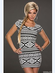 Women's U Neck Mini Dress , Lycra White Print/Bodycon