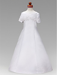 Lanting Bride A-line / Princess Floor-length Flower Girl Dress - Satin Short Sleeve Jewel with Appliques / Beading