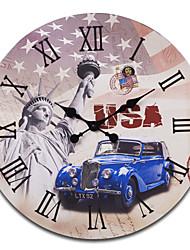 """23 """"H Statue de la Liberté de style rétro en bois Horloge murale"""