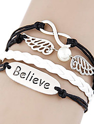Fashion 17cm Women's BlackAndWhite Leather Wrap Bracelet(Believe)(1 Pc)