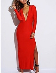 Women's Party Sexy / Vintage Loose Dress,Solid Deep V Midi Long Sleeve Red / White / Black Polyester / Spandex All Seasons