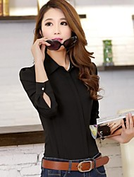 Women's Solid Black/White Shirt , Shirt Collar Long Sleeve
