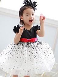 Girl's Black Dots Detail Belt Tier Dresses