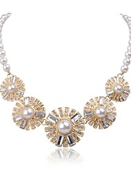 JANE STONE White Pearl Beaded Flower Statement Necklace