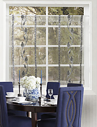 One Panel Country Fancy Black Leaves Kitchen Sheer Curtain Drape