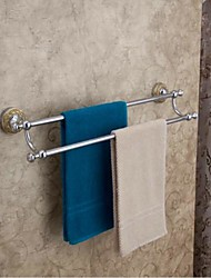 Contemporary Style Chrome Finish  Brass Material Double Towel Bars