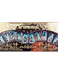 24PCS Rhinestone Nail Art dicas de aplicação de goma azul do casamento de prata metálico brilhante Luster