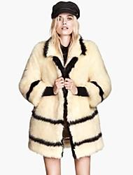 HAODUOYI ™ Stripe falso casaco de pele de coelho