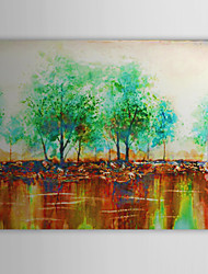 Hand Painted Oil Painting Landscape Trees Along Rivers  with Stretched Frame