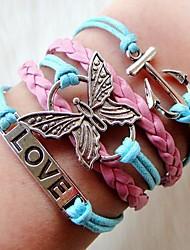 Western mode Multideck des femmes papillon Anchor bracelet tressé