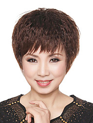 10 Inch European Style Short Curly Chestnut Brown Human Hair Wigs Side Bang