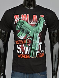 Мужская черный хлопок Пистолет с Слова рабочей команды печатных футболку