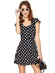 Women's Polka Dot Black Dress , Print U Neck Short Sleeve