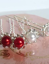 Mode Perle Strass Blumen U-Form-Haar-Sticks