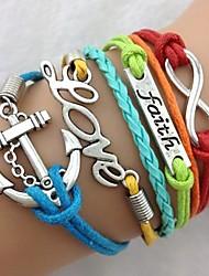 Women's Vintage Multideck Anchor Multi-Color Combined Symbols Braided Bracelet