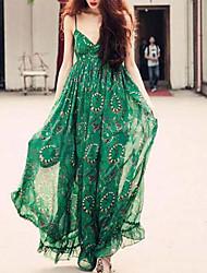 Women's Beach / Holiday Boho Chiffon / Swing Dress,Print Strap Maxi Sleeveless Green Polyester Summer