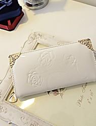 Kethlyn Women's White Rose Pattern Portable PU Leather Wallet