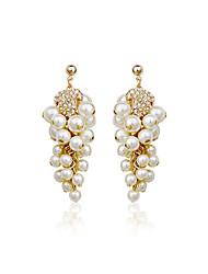 Fabulous Legierungs-Gold überzog mit Imitation Pearls Frauen Ohrringe (weitere Farben)