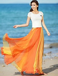 Frauen Multicolor Flare Chiffon Rock