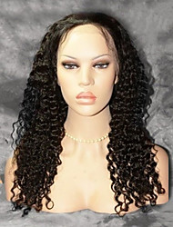 18Inch Human Hair Lace Front Wig Deep Wave #1 Jet Black Indian Remy Hair Front Lace Wigs