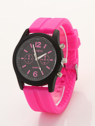 Cdong Black Dial Sports Silicone Watch (Fuchsia)