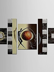 Hand Painted Oil Painting Abstract People with Stretched Frame Set of 5